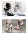New Womens Stiletto High Heel Mesh Slingbacks Zip Sandals Sizes