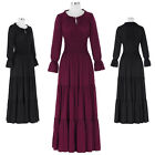 Womens Black/Wine Red Long Sleeve Maxi Medieval Renaissance Costume Dress Gown