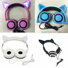Creative white LED Cat Ears Headset Foldable Headphones For PC Phone stereo