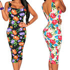 Sexy Black Sleeveless Multi-Colour Floral Print Casual Summer Party Midi Dress