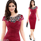 Women Sexy Floral rose lace office work pencil Cocktail party evening dressS-3XL
