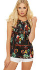 Womens Floral Print Pleated Vest Top Sleeveless Button Up Back Blouse 8-14