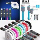Retractable 2 in 1 Micro Dual USB + Sync Data Charging Cable For iPhone Samsung