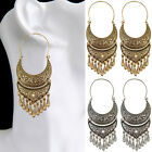 Women Lady Gold/Silver Plated Jewelry Tassel Carved Drop Dangle Hoop Earrings