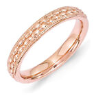3.5mm 14k Rose Gold Plated Sterling Silver Stackable Patterned Band
