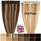 One Piece Clip In Remy Human Hair Extension 3/4 Full Head  Straight Weft UK H077