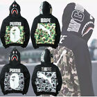 Bape A Bathing Ape Camo Army Shark Men Jacket Full Zip Camouflage Hoodie Coat