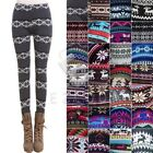 Lady Faux Cashmere Like Snow Deer Leggings Pants