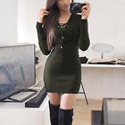 ISASSY Womens Ladies Lace Sweater Bodycon Jumper Tunic Short Mini Dress