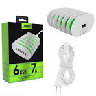 USB Auto-ID compatible 6 Port 7A Home Wall Travel Wall Charger Power Adapter