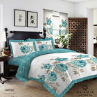 Duvet Cover with Pillow Case Quilt Cover Bedding Set Frilled Edge LISA TEAL