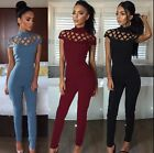 Womens Choker High Neck Caged Sleeve Playsuits Ladies Long Jumpsuits Size 6 - 14