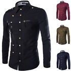 Military Style Men's Slim Stylish Special Buttons Decorated Long Sleeve Shirt