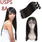 8A Brazilian Human Hair Ear To Ear 360 Lace Frontal With 3 Bundles Straight