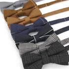 Vintage Adjustable Men's Cotton Bow Ties Plain Striped Tuxedo Wedding Butterfly