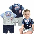 Baby Boy Wedding Christening Party Printed Pin Suit Outfits Romper Clothes 00-1