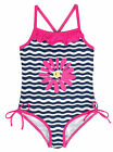 Pink Platinum Baby Girls' Big Flower and Stripe Waves One Piece Swimsuit