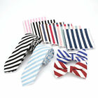 9 Color Mens Linen Cotton Striped Neck Tie Hanky Bow Ties Set Wedding Party Sets