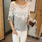 White Women Lace Crochet Floral Hollow Batwing Sleeve T-Shirt Tops Blouse