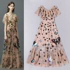 Women Luxury Embroidery Nail bead Straight Collar Evening Over Knee Length Dress