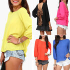 Women's Fashion Causal Bowknot Loose Pull Over Tops Ladies Blouse T-Shirt New