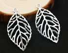 6/30pcs fashion exquisite hollow out big leaves alloy charm pendant