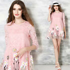 2017 Spring Fashion Womens 3/4 Sleeve Lace Organza Floral Embroidery Mini Dress