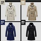Men Coat Casual Outwear Slim Double-breasted Trench Coat Overcoat Jacket NEW