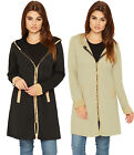 Womens Hooded Cardigan Long Jacket Ladies Quilted Look Zip Up Faux Pocket 8-14