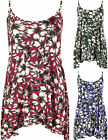 New Womens Plus Size Floral Print Camisole Strappy Swing Vest Ladies Top 12-30