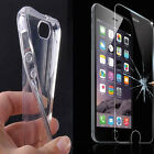 Transparent Soft TPU Case Cover & Tempered Glass Protector & Stylus For iPhone