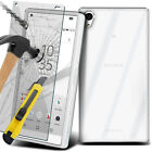 Transparent Clear Soft TPU Case + Tempered Glass Protector + Stylus For Sony