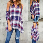 Womens Ladies Cold Cut Out Shoulder Jersey Plaid T Shirt Curved Hem Top Shirts L