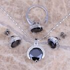 Gracious Black Sapphire Silver Jewelry Sets Earrings Pendant Ring S0074