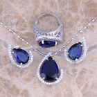 Blue Sapphire White Topaz Silver Jewelry Sets Earrings Pendant Ring S0454