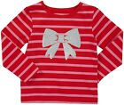 Carter's Girls SIZE 6 Long Sleeve Red & Pink Striped Glitter Bow Tee NWT $18