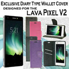 Diary Wallet Style Folio Flip Flap Cover Case For Lava Pixel V2