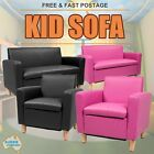 Kids Sofa Children Lounge Arm Couch Chair Leather Padded Pink Black With Storage