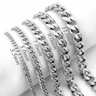 3.5/5/7/9/11mm Mens Chain Silver Tone Stainless Steel Curb Cuban Link Necklace image