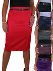 (2328) Pencil Satin Skirt Stretch + FREE Belt Size 8-18