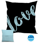 "LOVE TEXT BLACK DESIGN 18 X 18 "" CUSHION VALENTINES DAY GREAT GIFT IDEA"