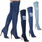 WOMENS OVER KNEE THIGH BOOTS DENIM STRETCH JEANS STILETTOS HIGH HEEL PARTY SHOES