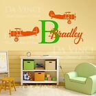 Airplanes Aircraft Biplane Wall Custom Name Monogram Vinyl Wall Decal Sticker