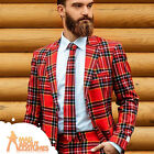 Adult Lumberjack Oppo Suit Red Tartan Mens Stag Fancy Dress Outfit New