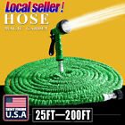 US 25 50 75 100 200 Feet Expandable Flexible Garden Water Hose + Spray Nozzle ov