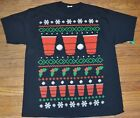 Beer Pong Holiday Christmas T-Shirt Ugly Sweater Adult Men's Tee