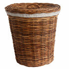 Classic Wicker Rattan Linen Laundry Basket with Calico Liner and Lid