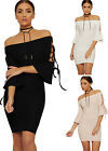 Womens Bardot Bodycon Mini Dress Ladies Short Tie Sleeve Off Shoulder Party 8-14