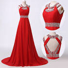Red Formal Long Chiffon Cocktail Ball Evening Gown Bridesmaid Party Prom Dress