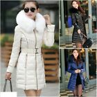 Fashion NEW Winter Women Down Cotton Long Fur Collar Hooded Coat Jacket Parka